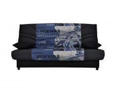 Canapé clic clac en tissu SALOON avec coffre de rangement - Noir imprimé MIDTOWN