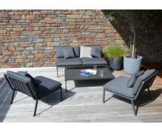 Salon de jardin ZANZIBAR en aluminium: un canapé 2 places, 2 fauteuils et une table basse - Anthracite