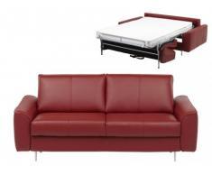 Canapé 3 places convertible express en cuir supérieur ALPHONSE - Rouge