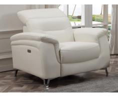 Fauteuil relax électrique en cuir AVILA - Blanc