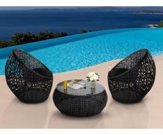Salon de jardin CAZAS en résine tressée - noir : 2 chaises et une table