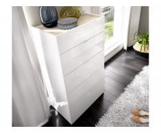 Chiffonnier VIDOURLE - 5 tiroirs - Blanc et chêne