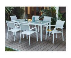 Salle à manger de jardin PAIA en aluminium - une table + 6 fauteuils - Assise grise