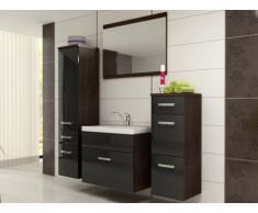 Ensemble NASSAU - meubles de salle de bain - laqué noir et bois wengé