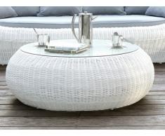 Table basse de jardin WHITEHEAVEN en résine tressée blanche