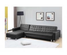 Canapé d'angle convertible et réversible en simili WILLIS - Noir