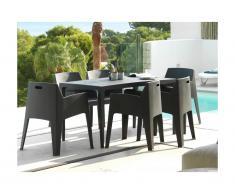 Salle à manger de jardin SOROCA: Table + 6 chaises - Polypropylène - Anthracite