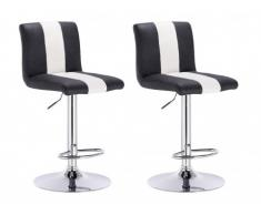 Lot de 2 tabourets de bar JAMY - Simili - Noir & Blanc