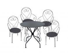 Salle à manger de jardin en fer forgé GUERMANTES: une table et 4 fauteuils anthracites