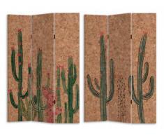 Paravent imprimé cactus 3 pans CACTO - MDF - 120x180 cm - multicolore