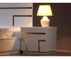 Chevet design LUMINESCENCE - 2 tiroirs - MDF laqué blanc