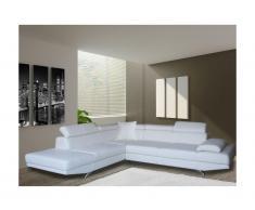 Canapé d'angle XL en simili ROMAIN - Blanc - Angle gauche