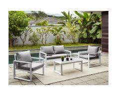 Salon de jardin KIRIBATI en aluminium et cordes: un canapé 2 places, 2 fauteuils et une table basse