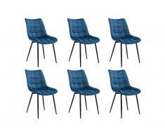 Lot de 6 chaises matelassées ULLOA - Velours et métal - Bleu nuit