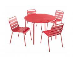 Salle à manger de jardin MIRMANDE en métal - une table D.110cm et 4 chaises empilables - Rouge