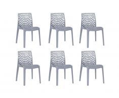 Lot de 6 chaises empilables DIADEME - Polypropylène - Gris clair