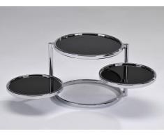 Table basse de décoration MELINE II - en verre trempé noir et chrome