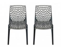 Lot de 2 chaises empilables DIADEME - Polycarbonate plein - Gris fumé