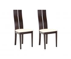Lot de 2 chaises SALENA - Hêtre massif coloris wengé