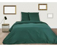 Parure de lit BEAUREGARD en satin - housse de couette 240x260cm + 2 taies d'oreiller 65x65 cm - Vert