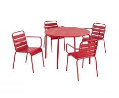 Salle à manger de jardin MIRMANDE en métal - une table D.110cm et 4 fauteuils empilables - Rouge