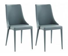 Lot de 2 chaises KIMIYO - Simili - Gris