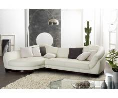 Canapé d'angle 100% cuir de buffle 5 places CAPRI II - Ivoire - Angle gauche