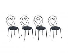 Lot de 4 chaises de jardin empilables en métal façon fer forgé GUERMANTES - anthracite