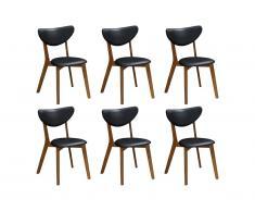 Lot de 6 chaises LISETTE - Hévéa massif & Simili - Noyer et noir