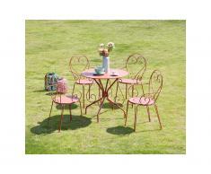 Salle à manger de jardin GUERMANTES en métal façon fer forgé: une table et 4 fauteuils empilables terracotta