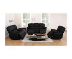 Canapé 3+2+1 places relax électrique en cuir MARCIS - Noir