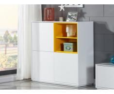 SOLDES - Buffet haut ALZATA - 3 portes - MDF laqué - Blanc & Jaune