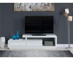 Meuble TV ARTABAN - 2 tiroirs - MDF laqué - Blanc