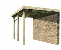 Carport adossé ROMANA en bois traité classe III - surface 15,72m² - épaisseur 19mm - toit en pvc transparent