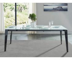 Table à manger extensible LOREDANE - Verre trempé - 6 à 8 couverts
