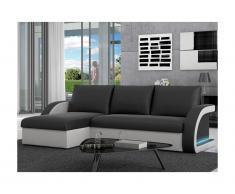 Canapé d'angle convertible et réversible en simili à leds CORNEILLE - Bicolore noir/blanc