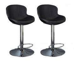 Lot de 2 tabourets de bar SMILEY - Simili - Noir