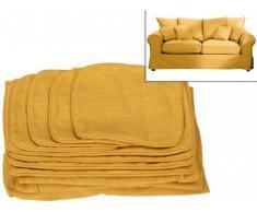 Housse de canapé 2 places en tissu CLARA - Jaune