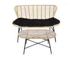 Canapé 2 places + table basse de jardin NICOYA en résine tressée - Assise noire