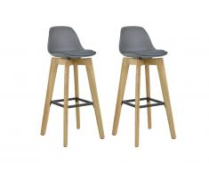 Lot de 2 tabourets de bar PADDY - Polypropylène, simili & chêne - Gris