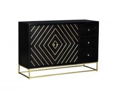 Buffet art déco PRISMIN - 3 tiroirs & 2 portes - Bois de manguier et métal - Noir et doré