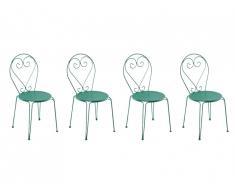 Lot de 4 chaises de jardin empilables en métal façon fer forgé GUERMANTES - Vert