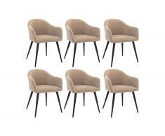 Lot de 6 chaises BIBO - avec accoudoirs - Effet velours & métal - Beige