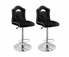 Lot de 2 tabourets de bar WALTER II - Simili - Noir