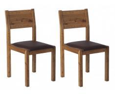 Lot de 2 chaises YSANDRE - Chêne massif & Simili noir