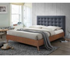 Lit FRANCESCO tête de lit capitonnée - 160x200cm - Tissu gris et bois