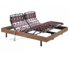 Sommier électrique de relaxation 2x65 plots déco bois chêne naturel de DREAMEA - 2 x 80 x 200 cm - moteurs OKIN