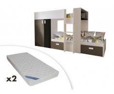 Lits superposés JULIEN - 2x90x190cm - Armoire intégrée - Pin blanc et chocolat + 2 matelas ZEUS 90x190