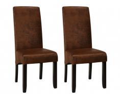Lot de 2 chaises SANTOS - Microfibre aspect cuir vieilli - Pieds bois foncé