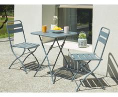 Salle à manger de jardin pliante MIRMANDE en métal: une table et 2 chaises - Anthracite